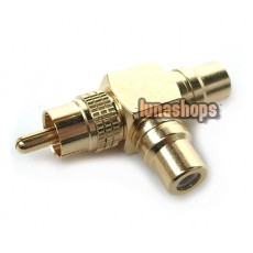 HiFI T RCA AV Y Splitter Plug Adapter 1 Male to 2 Female