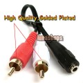 Golden Plated 3.5mm stereo female jack to 2 male RCA adapter cable