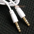 WHITE 3.5MM MALE TO STEREO AUDIO EXTENSION CABLE CORD 1M