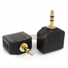 GOLD 3.5MM MALE TO 2 FEMALE AUDIO SPLITTER PLUG ADAPTER