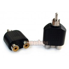 2pcs RCA Male To 2 Female Stereo Audio Adapter Connector