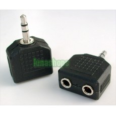 2pcs 1 3.5mm Male to 2 Females Stereo Jack Splitter Adapter