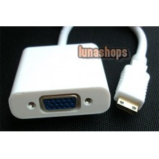 Mini HDMI Male to VGA Female Video Audio Converter Box Cable (Chip inside)