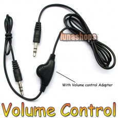 3.5mm Male To Male Stereo Audio Volume Control Cable adapter For Speaker Earphone