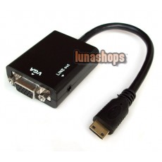 Mini HDMI Male to VGA Female Video Audio Cable (Chip inside) + 3.5mm line out