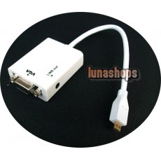 Micro HDMI Male to VGA Female Video Audio Cable (Chip inside) + 3.5mm line out