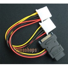 SATA 15 Pin Male IDE to 2 Female 4 Pin IDE Power Cable Cord