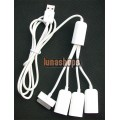USB Male To Ipad Dock + 3 USB Female Hub Splitter Cable Adapter