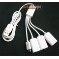 USB Male To Micro USB Male + 3 USB Female Hub Splitter Cable Adapter