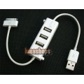 Dock Connector to Charger + SYNC Cable Adapter with USB Hub for iPhone iPad
