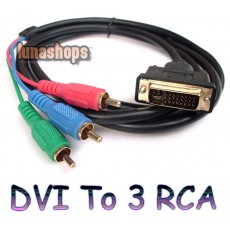 DVI-I 24+5 to 3 RCA Component RGB Male Cable for PC Laptop Monitor HDTV