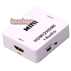 Mini Size HDMI to HDMI / L+R Audio Converter Adapter Box + USB Cable for PS3 etc.