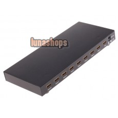 8 Port 1x8 1 In 8 Out HDMI Splitter Audio Video 1080P HD HDTV 3D DVD HDV-818