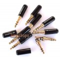 Black 3.5mm Stereo 24k Gold Audio Plug soldering Adapter for Sennheiser