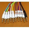 10 Color for choosing 3.5mm male to Male Audio Cable 100cm long Net Skin JD7