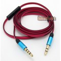 3.5mm Male To Male With Mic Remote Cable For HD Pro Headphone Earphone Iphone Series