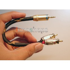 25cm DIY 3.5mm Male to 2 RCA Male Audio Audiophile OCC Y Splitter Cable