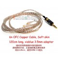 120cm Custom 6N OFC Cable For Shure se535 Se846 Ultimate UE900 earphone headset