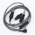 Black And White With Mic Remote Earphone Audio Cable For Sennheiser HD25-1 SP HD650 HD600 HD580 HD52...