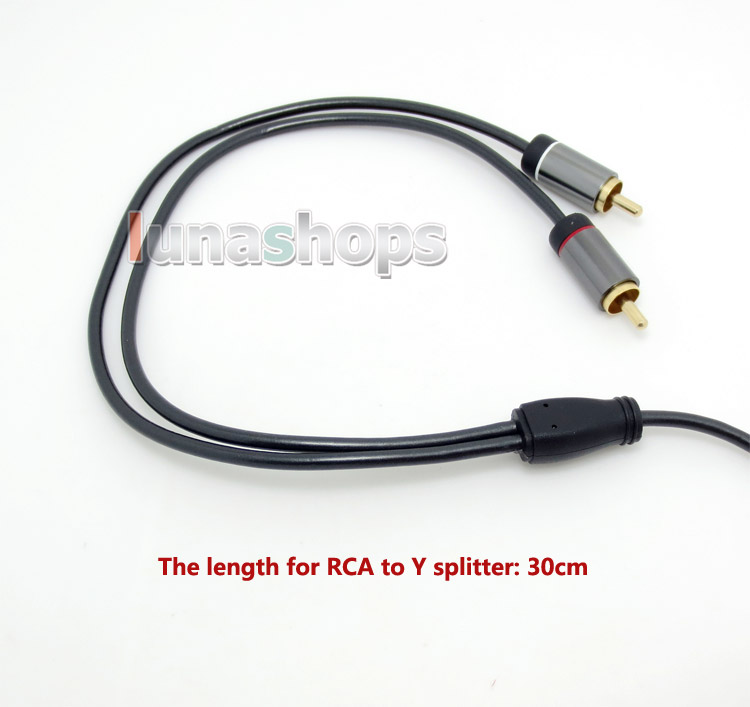 1.8m 3.5mm Male To 2 RCA Car AUX HiFi Audio Cable For AMP Headphone etc.