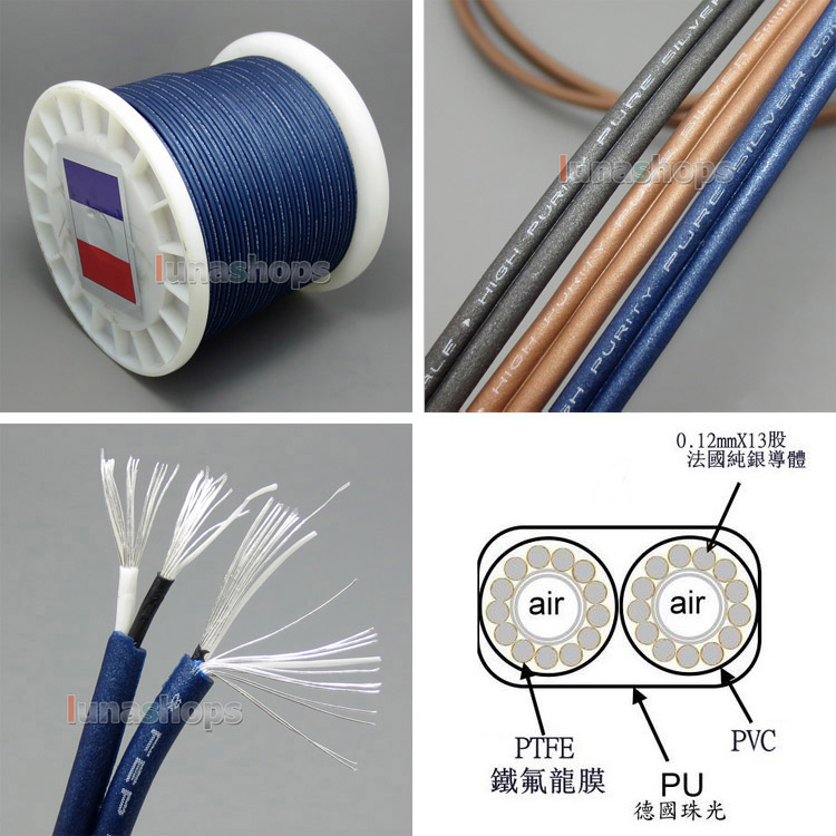 40cm High Detinion Stereo Earphone DIY Bulk PURE SILVER Conductors Cable + PEP Insulated