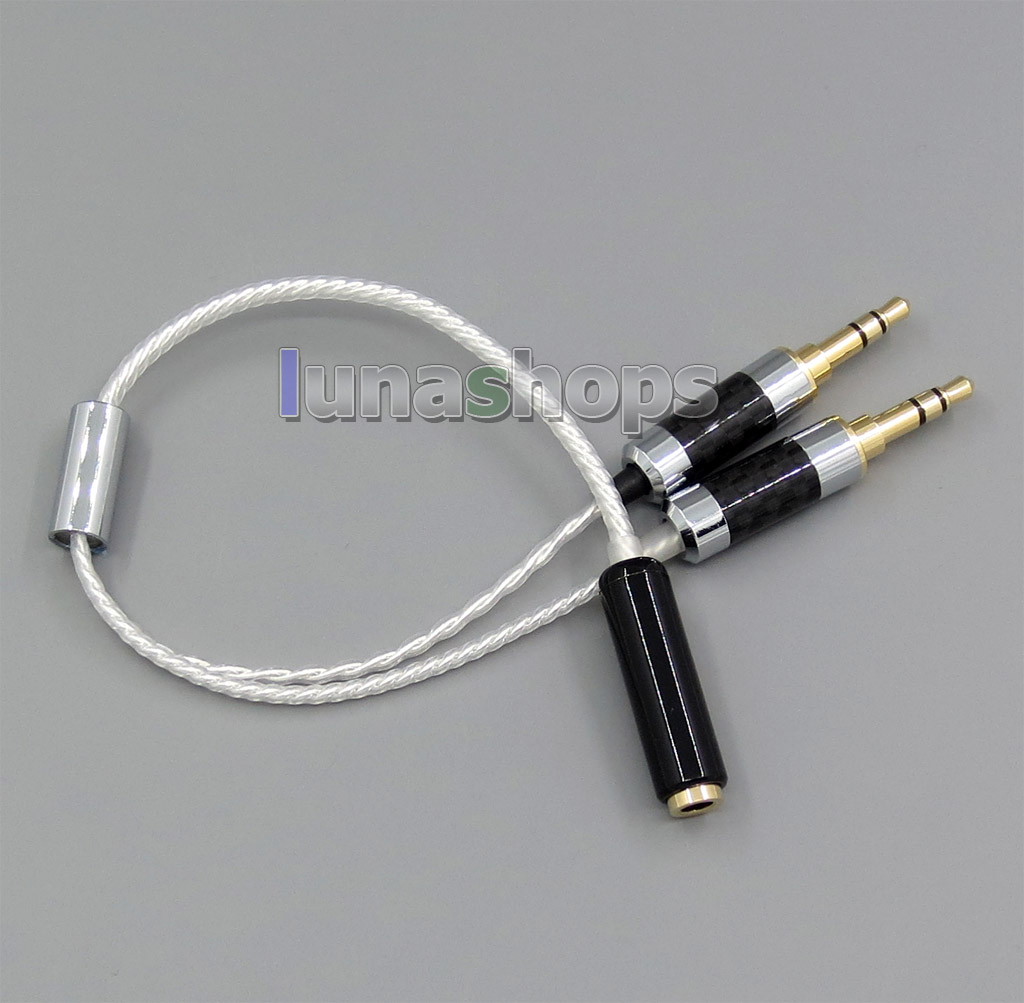 Dual 3.5mm Balanced To Normal 3.5mm Female Audio Adapter Silver Cable For SONY PHA-3 Amplifier