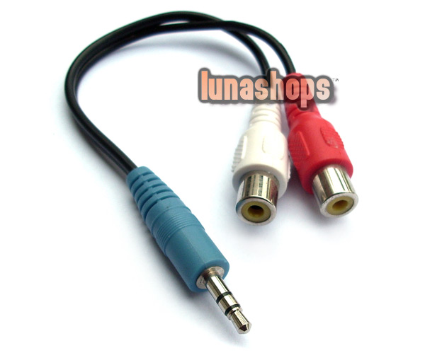 3.5mm Male to 2 RCA Female Y Splitter Cable Converter
