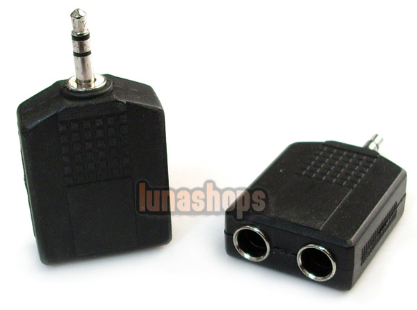 3.5mm male to 2 6.5mm Female Stereo Audio Adapter