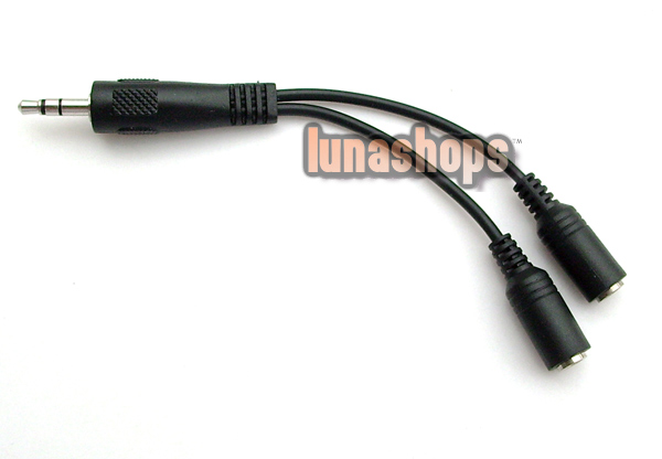3.5mm male to 2 Y splitter female extension stereo audio cable