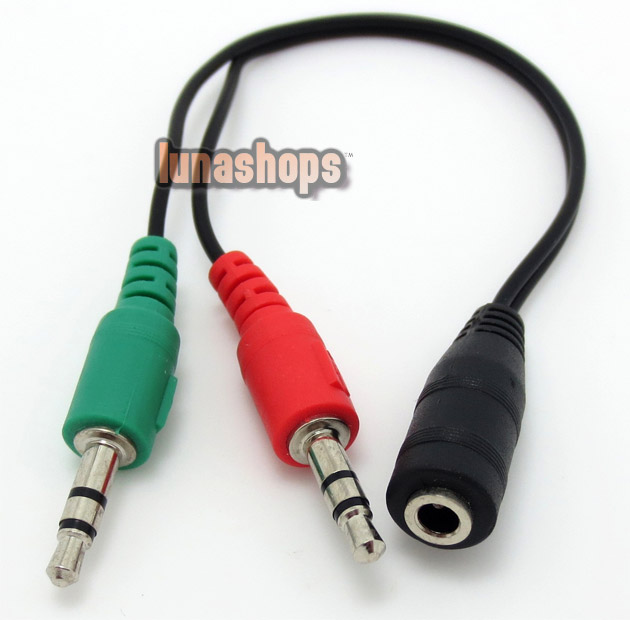 3.5mm Mic Stereo Audio Y Splitter 1 Female to 2 Male Adapter Cable
