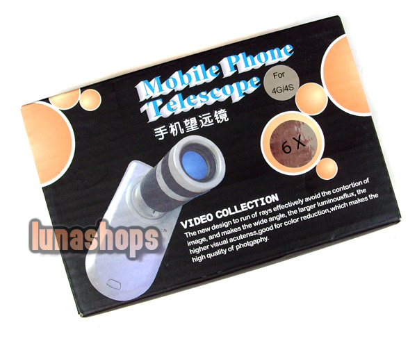Mini 6x Zoom Optical Lens Telescope w/ Mobile Phone Case for Apple iPhone 4G/4S