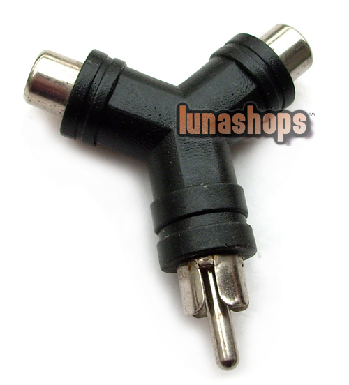 1 RCA AV Male To 2 Female Y Splitter Adapter