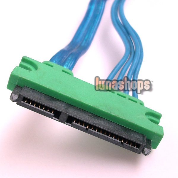 Green 15+7 Pin SATA Serial ATA Male To Female Data Power Cable