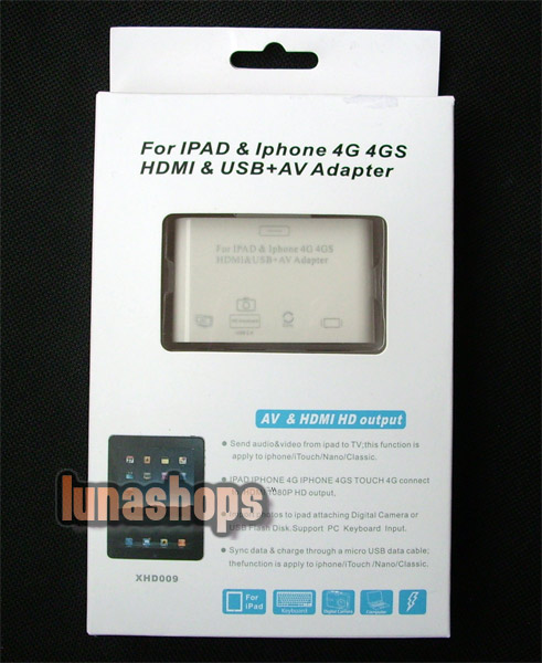 AV & HDMI HD output & USB adapter Converter Dock For ipad iphone 4G 4S