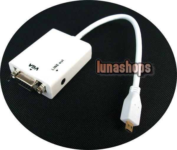 Micro HDMI Male to VGA Female Video Audio Converter Box Cable (Chip inside) + 3.5mm line out