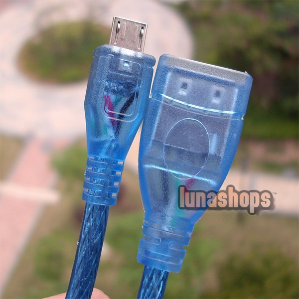 30cm Blue Color Micro USB Male To USB Female Adapter Cable Converter OTG