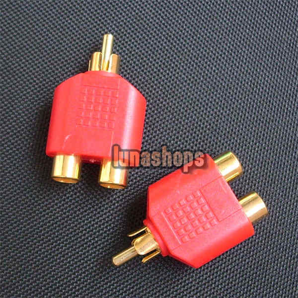 RCA Male To 2 Female Stereo Audio Adapter Connector