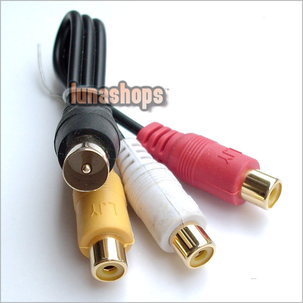 3 RCA AV female to male RF Connector Adapter Cable