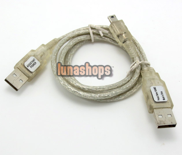 USB A Male to Male Mini B 4 Pin M-M Cable + Power Supply Transparent