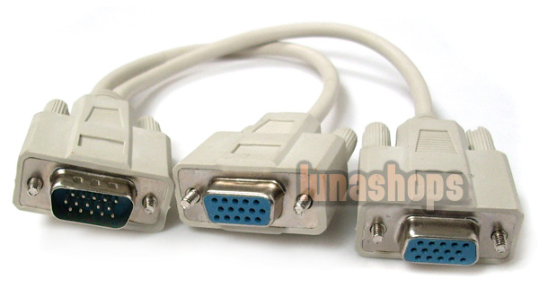 VGA 1 Male to 2 Female Y Splitter Cable Cord PC Monitor