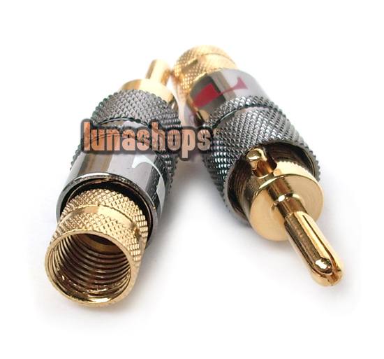 Locking Nakamichi Audio Banana Speaker Plug Adapter 24K New